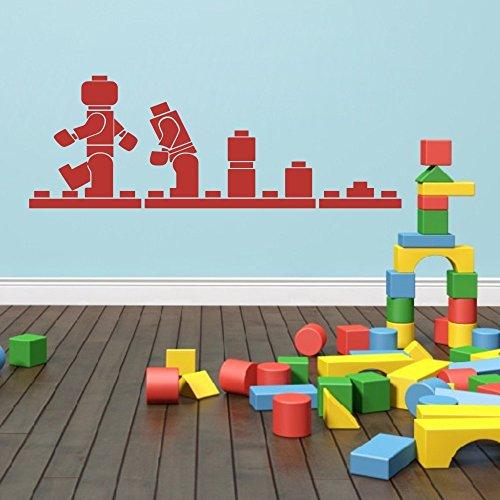 "Evolution Puzzle Blocks Konstruktion Rennwagen Wand Aufkleber Go Building Art Wand Aufkleber Aufkleber, Vinyl, Tomatenrot, 16""hx46""w"
