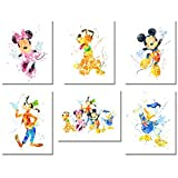 BigWig Prints Mickey Mouse Décoration Murale Aquarelle Poster Impressions - Lot de...