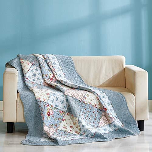 Unimall 3557856 Premium gesteppt Tagesdecke 150 x 200 cm Bettüberwurf aus Baumwolle Sofaüberwurf mit Blumen Patchwork, Blau Retro-chic Quilt