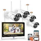 8 CH Extensible 1080P NVR Kit, Système de Caméra Sécurité sans Fil 4 * 960P Caméras avec1 to Disque Dur et Ecran 12'', Vision Nocturne, APP Gratuite, Blanche