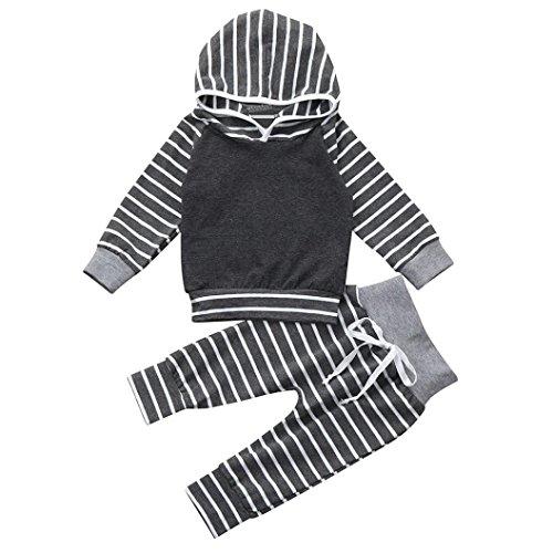 BeautyTop Baby Kleidung Set, 2Pcs Neugeborenes Baby Jungen Mädchen Striped Hoodie Sweatshirt Langarm Pullover Tops Bluse + Hosen Outfits Kleidung Set (90/6-12 Monat, Grau)