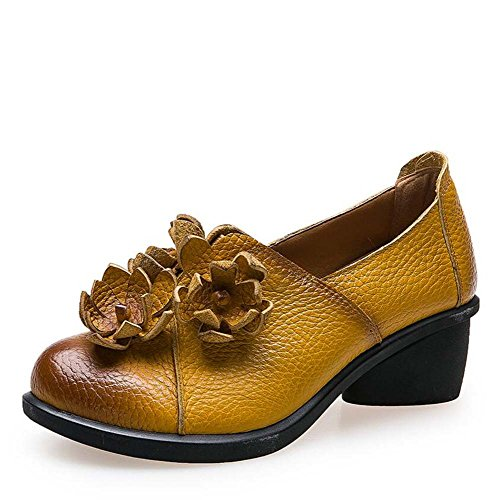 Mocassins Chaussures Slip Sur Ballerines Mocassin 5cm Talon Chunkly Ronde Pied Chaussures Femme Gland Fleur Gland National Vent Casual Chaussures Chaussures De Danse Chaussures De Danse Eu Taille 34-39 Jaune