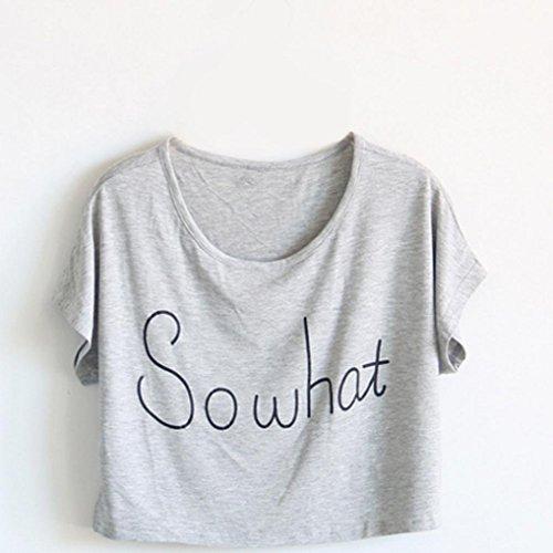 Oyedens Mode-Sommer-Art Lose Kurze Damen-T-Shirts Ausgesetzt Nabel GehäKelten Spitzen Grau