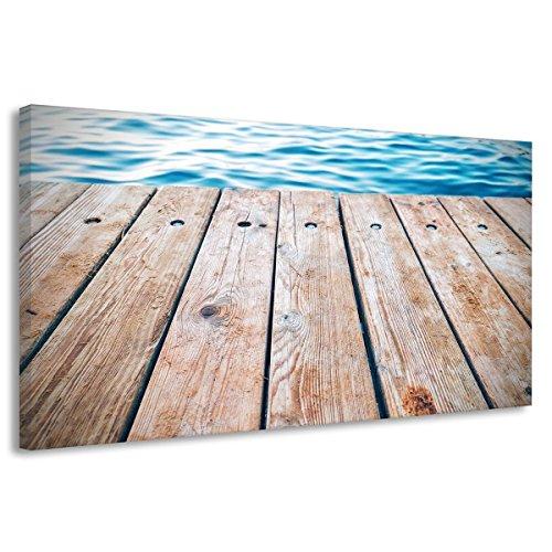 Preisvergleich Produktbild Leinwand Ponton Floß Wasser See Boot Steg Brücke Poster Druck Bild Sommer b00131 180x120