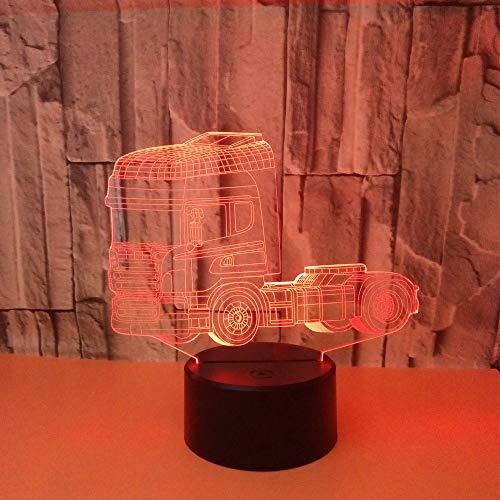 YWYU 3D Illusion LED Nachtlicht, 7 Farben Allmählich Ändern Acryl LKW Schreibtischlampe Fernbedienung Berührungsschalter USB Tischlampe für Jungen Mädchen Spielzeug
