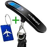 Digitale Kofferwaage,Wellead Gepäckwaage Tragbare Hängewaage LCD-Anzeige mit Kofferanhänger für Gewichtung 50kg Kapazität,Schwarz