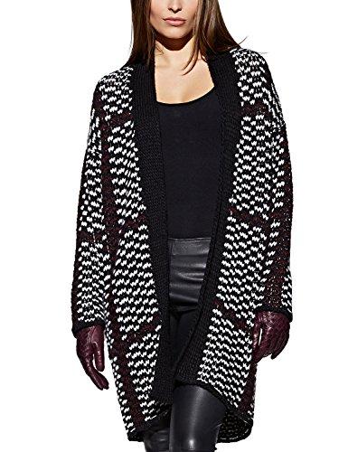 APART Fashion 48924 - Gilet - Femme Noir - Schwarz (schwarz-weiß-burgunder)