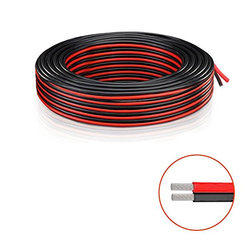 18 AWG Messgerät Elektronik kabel Draht 2x 0.82mm² - Verlängerungs kabel Draht 300V ( 5.5M Rot + 5.5M Schwarz) Low Voltage DC Wire Anschluss Kupferlitze für Led Strip Driver, Auto und andere - Schwarze Low-voltage-led