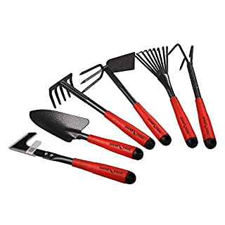 FLORA GUARD 6 Piece Garden Tool Sets - Including Transplanting Spade, Trowel, Rake, Cultivator, Weeder, Pruner, Gardening Hand Tools with High Carbon Steel Heads