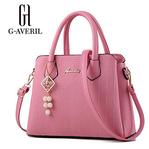 (G-AVERIL) PU pelle Donna borsa Designer Bag Fashion Borsa a Spalla Borse a Mano rosa
