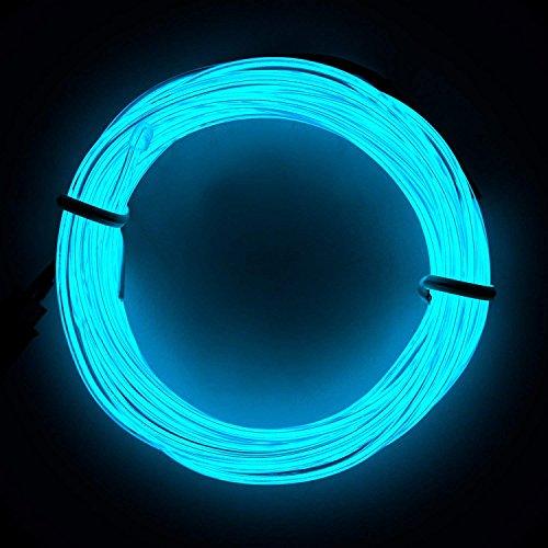 (Lysignal Wasserdicht Flexibel 3M 9 FT Neon Beleuchtung Lichtschlauch Leuchtschnur EL Kabel Wire mit 3 Modis für Disco Party Kinder Halloween Kostüm Kleidung Weihnachtsfeiern (Ice Blue))