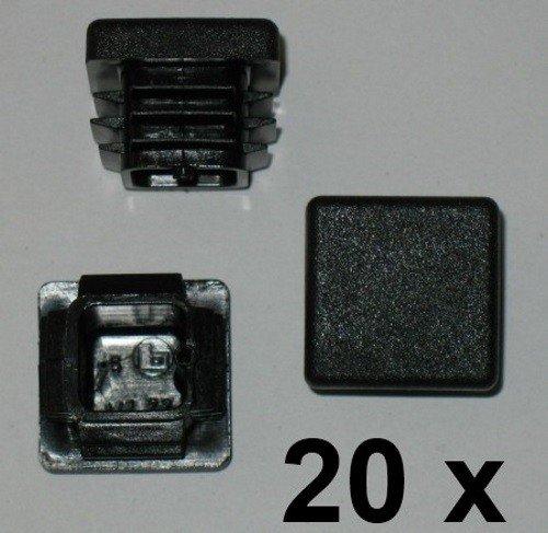 20 x Bouchon à lamelles carré rohrstopfen 20 x20 mm (extérieur) Bouchon Noir
