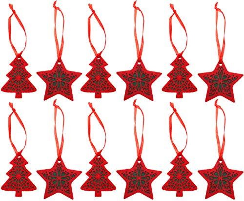Piebert 12tlg. Set di 6 Decorazioni per Albero di Natale a Forma di Stella, 6 x Albero di Natale, in Feltro, a 2 Strati, Rosso, Verde, Vegano
