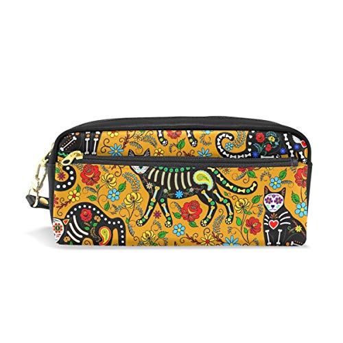 für Mädchen und Jungen, Halloween-Katzen-Skelett-Blumen-Design, für Mädchen und Jungen, Stifttasche, Make-up-Tasche, große Kapazität, wasserdicht für Frauen ()