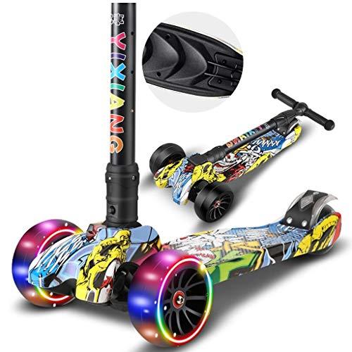 Kinder Roller 3 Rad Tretroller Fuß Roller Skateboard Front LED Blinkrad Kinder Outdoor Sport Spielzeug 07.01 (Color : A) (Skateboards Licht Rädern)