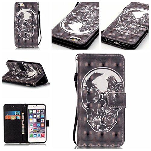 iPhone 6S Plus Coque, iPhone 6 Plus Coque, Lifeturt [ Ours Balloon ] Coque Dragonne Portefeuille PU Cuir Etui en Cuir Folio Housse, Leather Case Wallet Flip Protective Cover Protector, Etui de Protect E02-Crâne