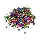 Oblique Unique® Konfetti Zahl 2 Bunt 2. Geburtstag Jubiläum Deko Streudeko Tischdeko Zahlenkonfetti 800 Stück