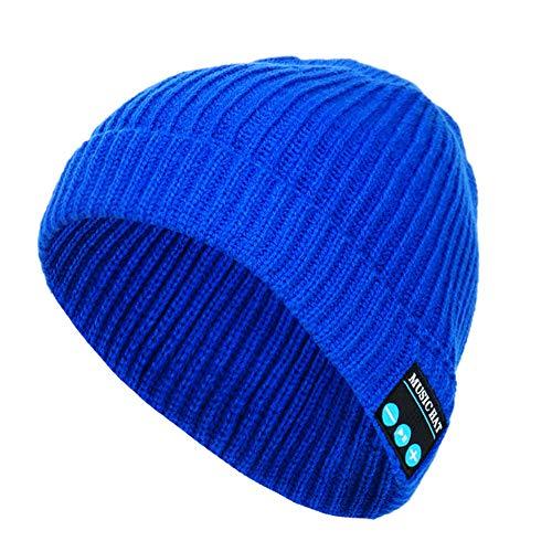 Momola Bluetooth Mütze,Winter Beanie mit Wireless Stereo Bluetooth Kopfhörer 4.2 In Ear Kopfhörer Headset Freisprechen und integriertem Akku für Damen, Herren und Unisex (Blau)