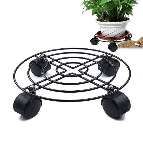 KEBY Blumentopfständer aus Metall mit Rädern, rund, Blumenständer auf Rollen, Pflanzenhalter auf Rollen für drinnen und draußen