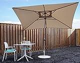 Sonnenschirm Parasol | Beige / Sand | 300 x 200 cm (3 x 2 m) | Rechteckig | SORARA - PORTO | Polyester 180 g/m² (UV 50+)| Kurbel & Pendel (excl. base)