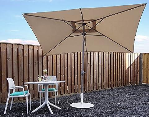 Parasol Jardin | Beige / Sable | 300 x 200 cm (3 x 2 m) | Carré | SORARA - PORTO | Polyester 180 g/m² (UV 50+)| Commande à Manivelle (Pied