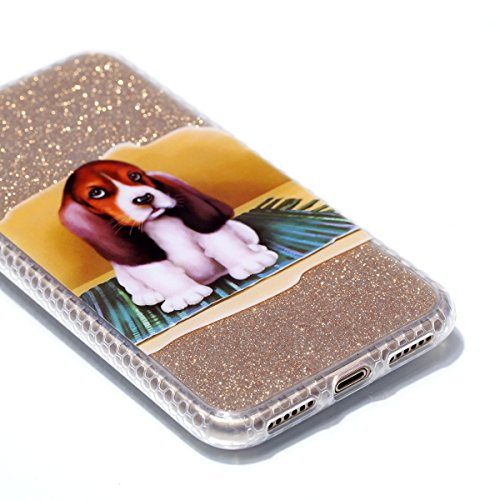 Custodia iphone X 5.8, iphone 10 Cover Glitter, Ekakashop Cover Morbido Sparkly Bling Bling Glitter TPU Silicone Gomma Soft Cover, Belle Bello Trasparente Crystal Clear Protettiva Back Cover Case Cus IMD-Cane
