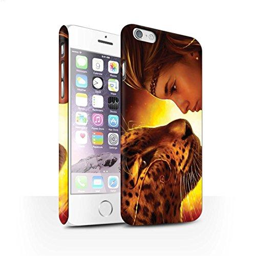 Officiel Elena Dudina Coque / Clipser Matte Etui pour Apple iPhone 6S / Trois dans la Nuit Design / Les Animaux Collection Face à Face/Tigre