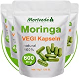 Moringa 500 Oleifera VEGI Kapseln hochdosiert 600mg - 100% Vegane ÖKO Rohkost (4x125)