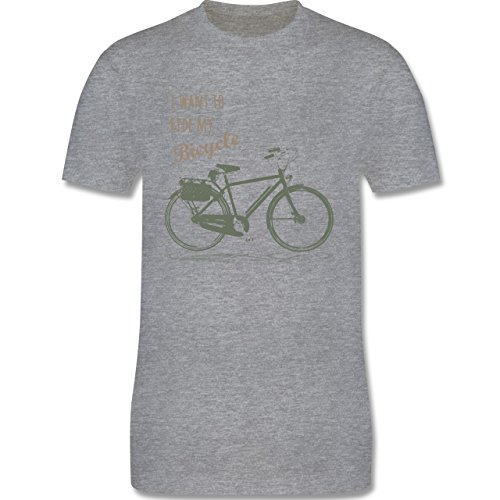 Vintage - I want to ride my bicyle - Herren Premium T-Shirt Grau Meliert
