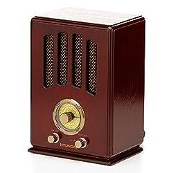 Hyundai Nostalgie Holz Radio Retro Design Röhren-Küchen-Radio FM/AM Nostalgieradio Top Klang Klassische Anzeige Retro Vintage Holz Optik
