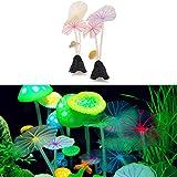 ECMQS Künstliche Lotus Leaf glühende Pilz Aquarium Ornament Dekoration