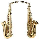 ammoon bE Saxophone Alto Cuivre Laqué Or E Flat Sax 802 Touches Type d\'instrument à Vent avec Brosse de Nettoyage en Tissu Gants Cork Grease Padded Case Bandoulière