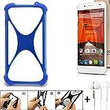K-S-Trade Handyhülle für Swees Godon X589 Bumper Schutzhülle Silikon Schutz Hülle Cover Case Silikoncase Silikonbumper TPU Softcase Smartphone, Blau (1x), Headphones