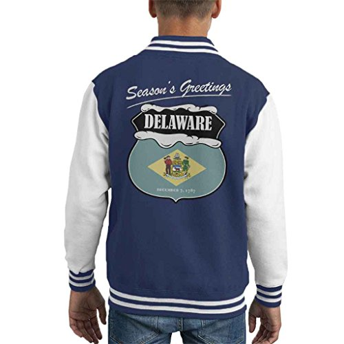 Seasons Greetings Delaware State Flag Christmas Kid's Varsity Jacket (Delaware Klassischen Sweatshirt)