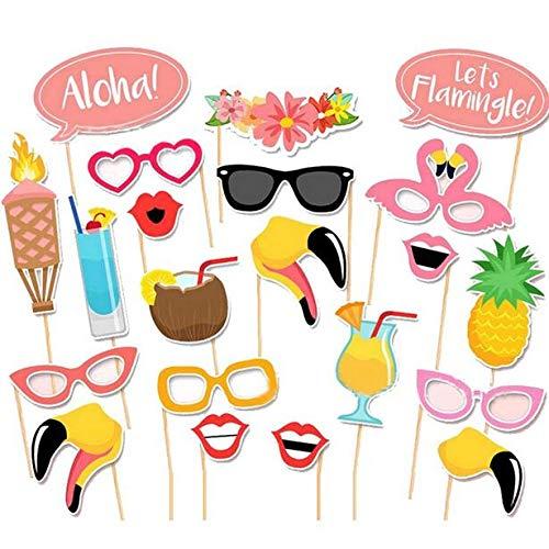 Photo Booth Prop, Flamingo Tropical Hawaiian Sommer Hen Party Nacht Spiele Foto Posing Requisiten ()