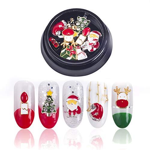 Hilai 10pcs/Set 3D Nail Art Decor Accessories Christmas Theme Nail Stud DIY Nail Supplie Rhinestones Nail Stickers(Style B)