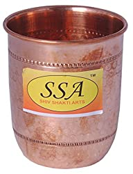 SHIV SHAKTI ARTS Handmade Pure Copper Glass With Round Base and Hammered Design Volume=200 ml