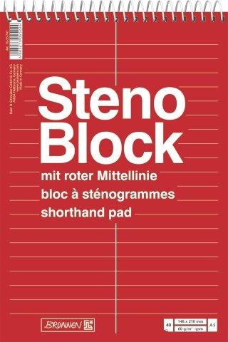 BRUNNEN Stenoblock A5 40 Blatt Spirale Mittelline - 10 Stück