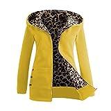 Outdoorjacke Hirolan Frau Plus Samt Verdickt Mit Kapuze Sweatshirt Leopard Reißverschluss Mantel Damen Wintermantel Kapuzenjacke Parka Mantel Übergangsjacke Warme Funktionsjacke (XL, Gelb)