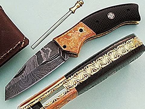 Handgefertigt 18cm Awesome Klapp Tasche Messer Made mit echten Damaskus Stahl mit Micarta Holz Griff und Kropf eingraviert: (bdm-1125) (Legal zu tragen)