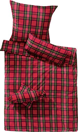 Erwin Müller warme Bettwäsche Flanell buntgewebt rot Größe 135x200 cm (80x80 cm) - hautsympathisch, atmungsaktiv, samtweich, 100% Baumwolle, mit Knopfverschluss (weitere Größen) - Karo-flanell-bettwäsche