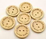 20mm Handmade with Love Buttons,100 Pcs Natural Wooden Button Sewing Scrapbooking DIY Craft
