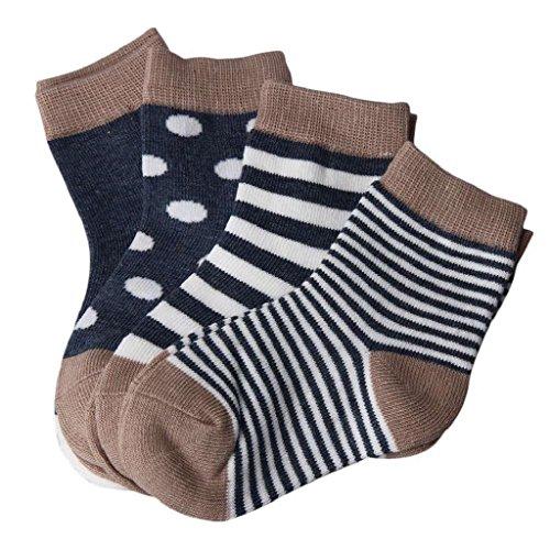 Auxma 4 Paar Socken,Baby Socken Kindersocken, für 0-6 6-12 12-24 Monat (L 12-24 M)