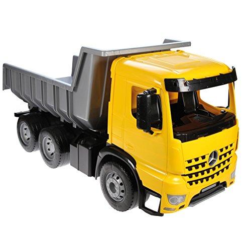 Lena 02064 - Starke Riesen Muldenkipper Mercedes Arocs, LKW ca. 63 cm, Kipplaster mit 3 Stahlachsen, Giga Truck in gelb, scharz und silber, großer Kipper für Kinder ab 3 Jahre