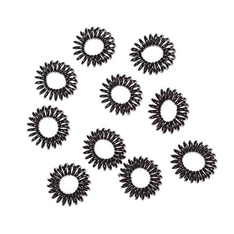 20 pièces/Lot de plastique Noir Extensible élastique Elastiques enroulé téléphone Fil spirale Queue de cheval