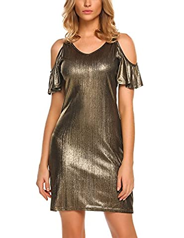 Elesol Damen Schulterfrei Bodycon Kleid Sexy Minikleid Metallic Etuikleid Bleistifkleid Partykleid