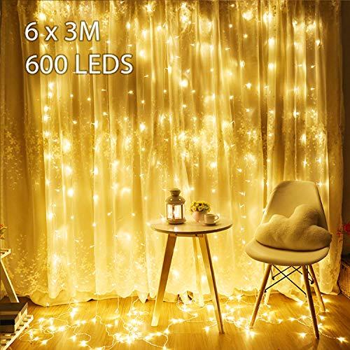 orhang Avoalre 600 LEDs Lichterkette Vorhang mit Stecker 8 Modi Strombetrieb Deko Warmweiß für Innen Außen Neujahr Weihnachten Geburtstag Feiertag Party Hochzeit ()