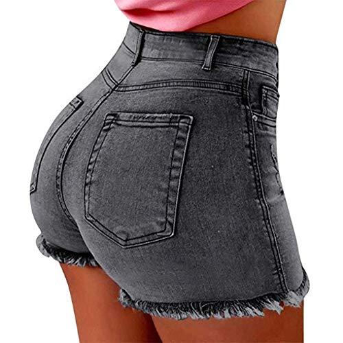 OranDesigne Damen Basic Jeansshorts High Waist Shorts Kurze Jeans Hosen Sommer Grau L