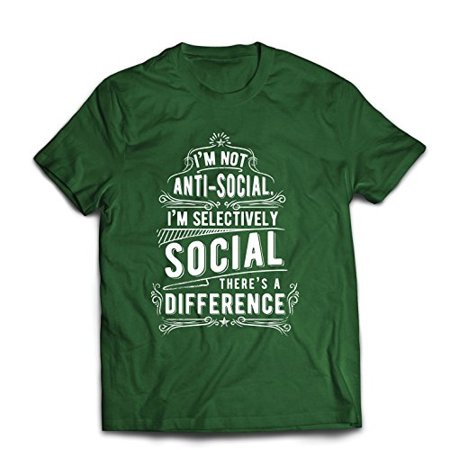 Camisetas Hombre No Soy Antisocial Solo selectivamente Social, Gracioso Diciendo, Citas de Humor sarcástico (Large Verde Oscuro