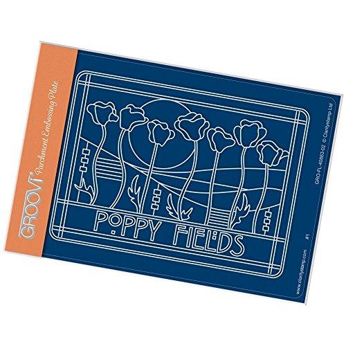 Clarity Stamps Groovi-Teller für Jugendstil, A6, Motiv: Mohnblumen